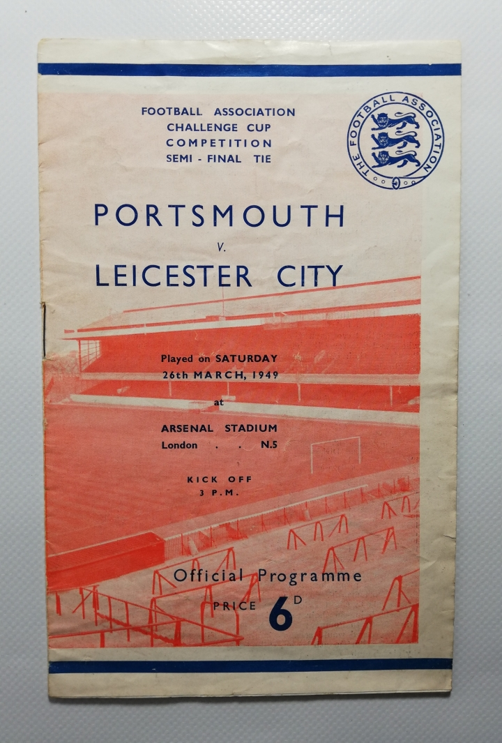 1949 F.A Cup Semi Final Portsmouth vs Leicester City Programme football programme