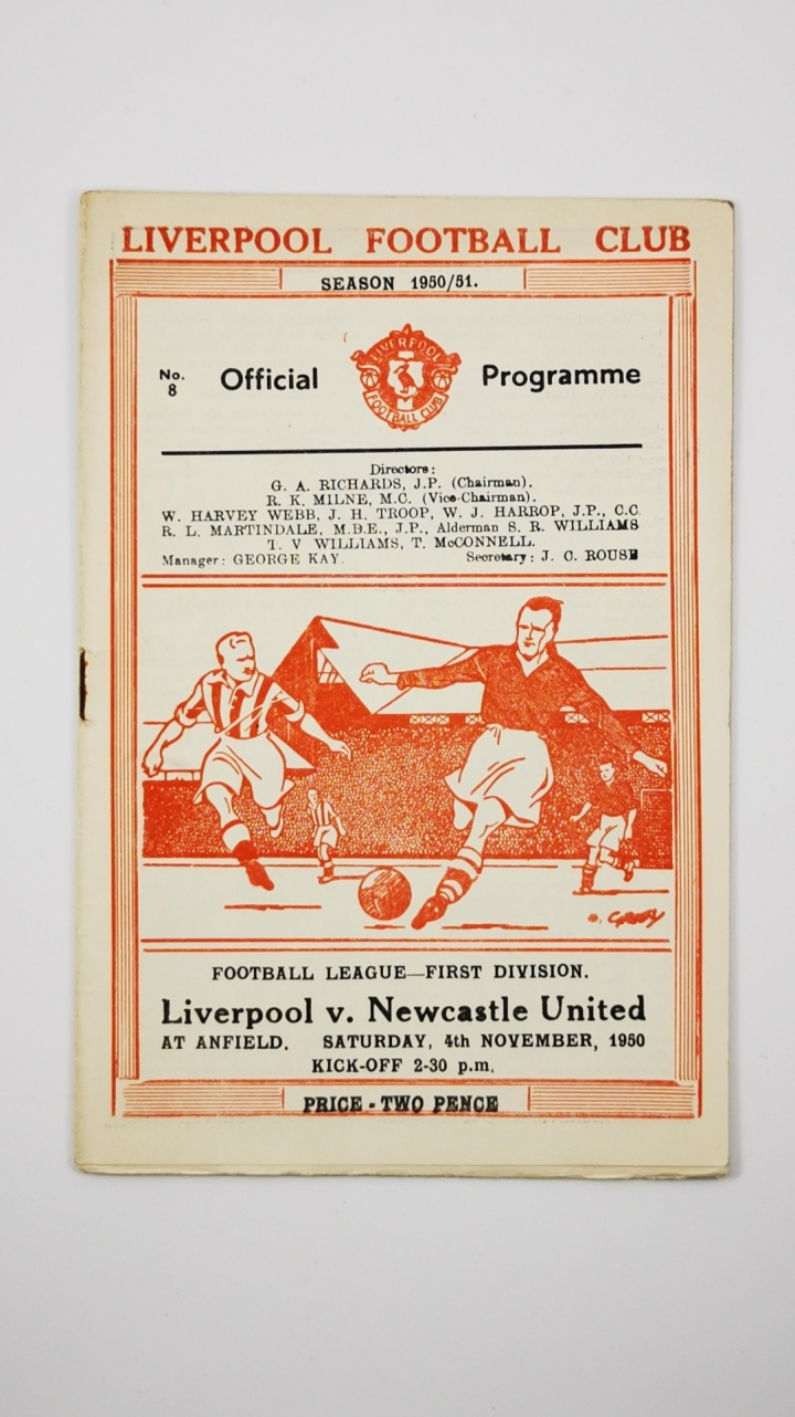 1950-51 Liverpool vs Newcastle United programme