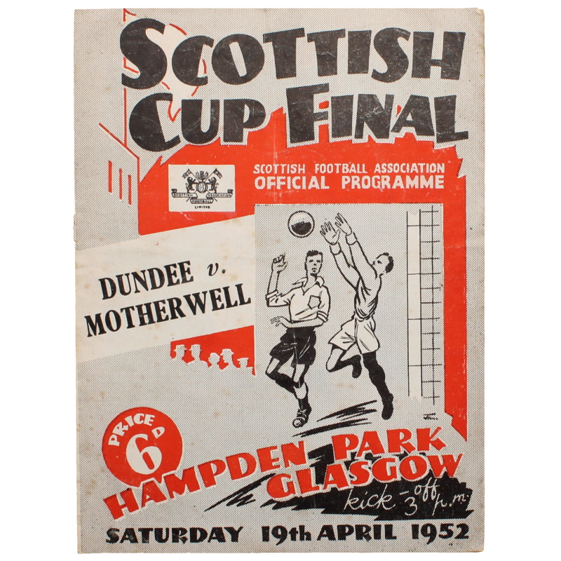 1952 Scottish Cup Final Dundee vs Motherwell programme football programme