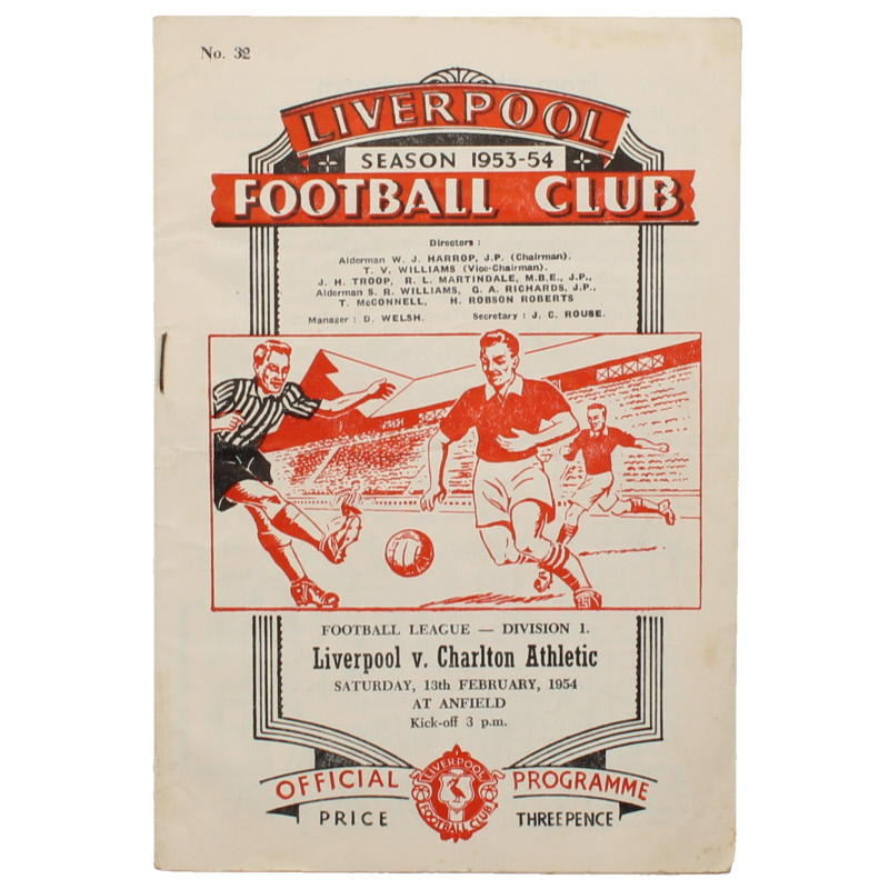 1953-54 Liverpool vs Charlton Athletic progamme football programme