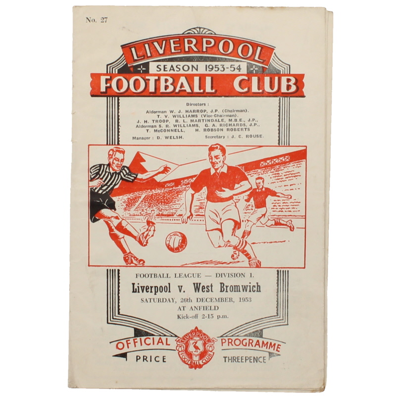 1953-54 Liverpool vs West Bromwich Albion progamme