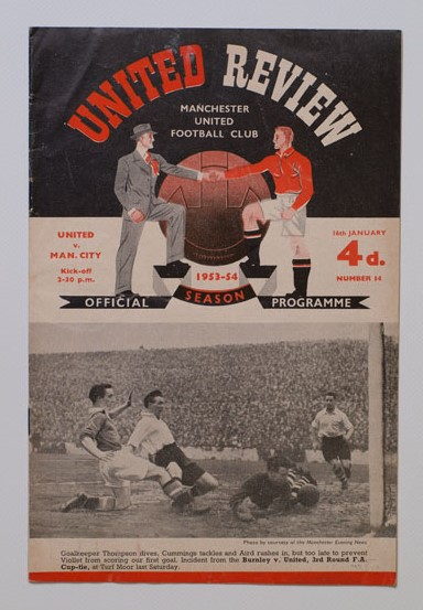 1953-54 Manchester United vs Manchester City football programme