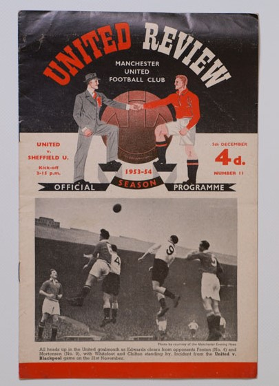 1953-54 Manchester United vs Sheffield United football programme