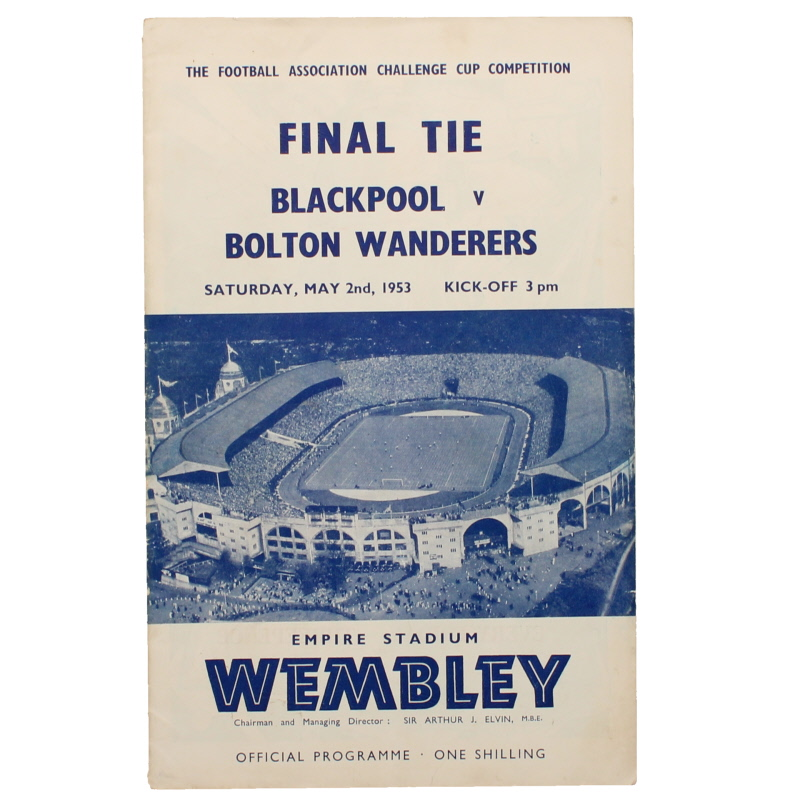 1953 F.A Cup Final Blackpool vs Bolton Wanderers football programme