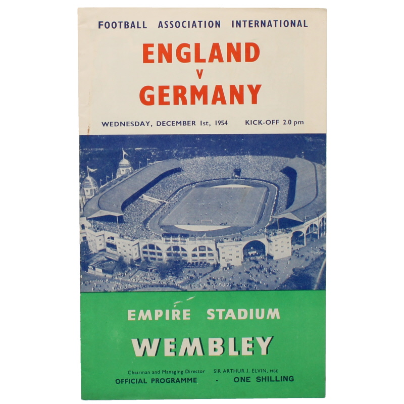 1954-55 England vs Germany programme football programme
