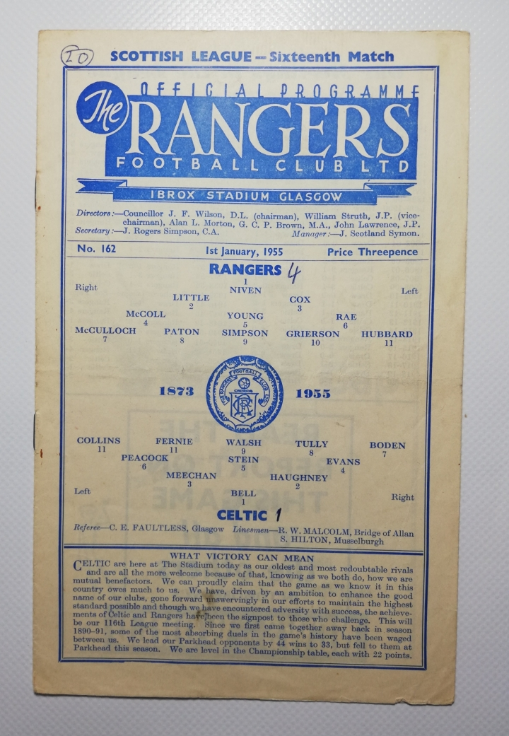 1954-55 Glasgow Rangers vs Celtic