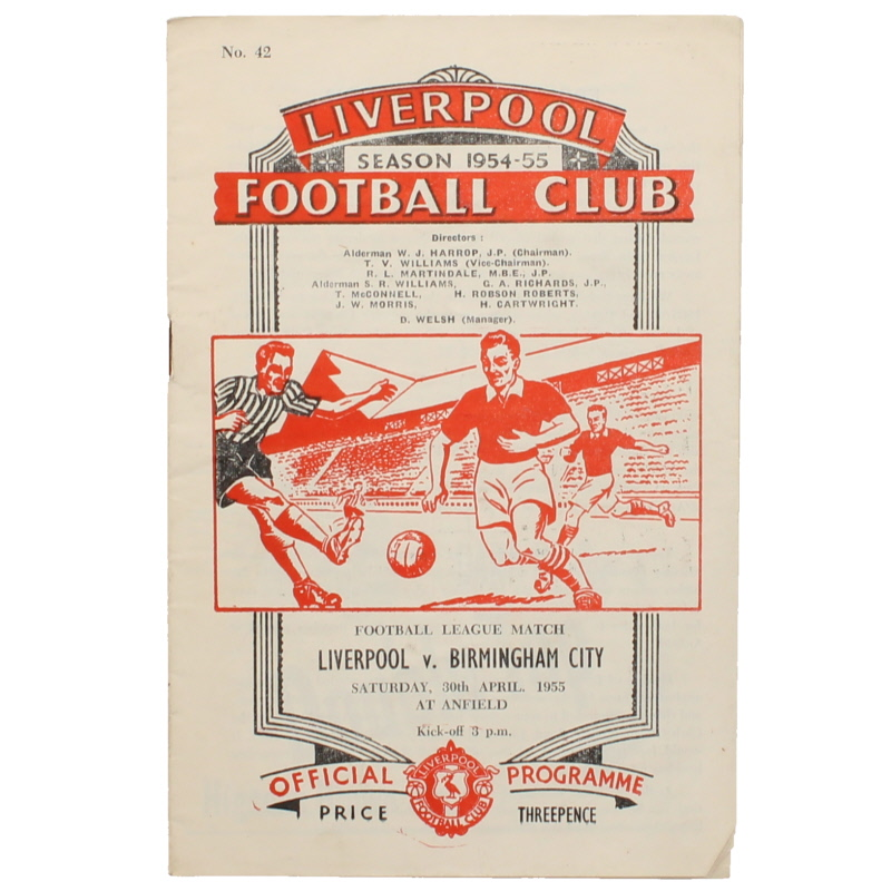 1954-55 Liverpool vs Birmingham City programme