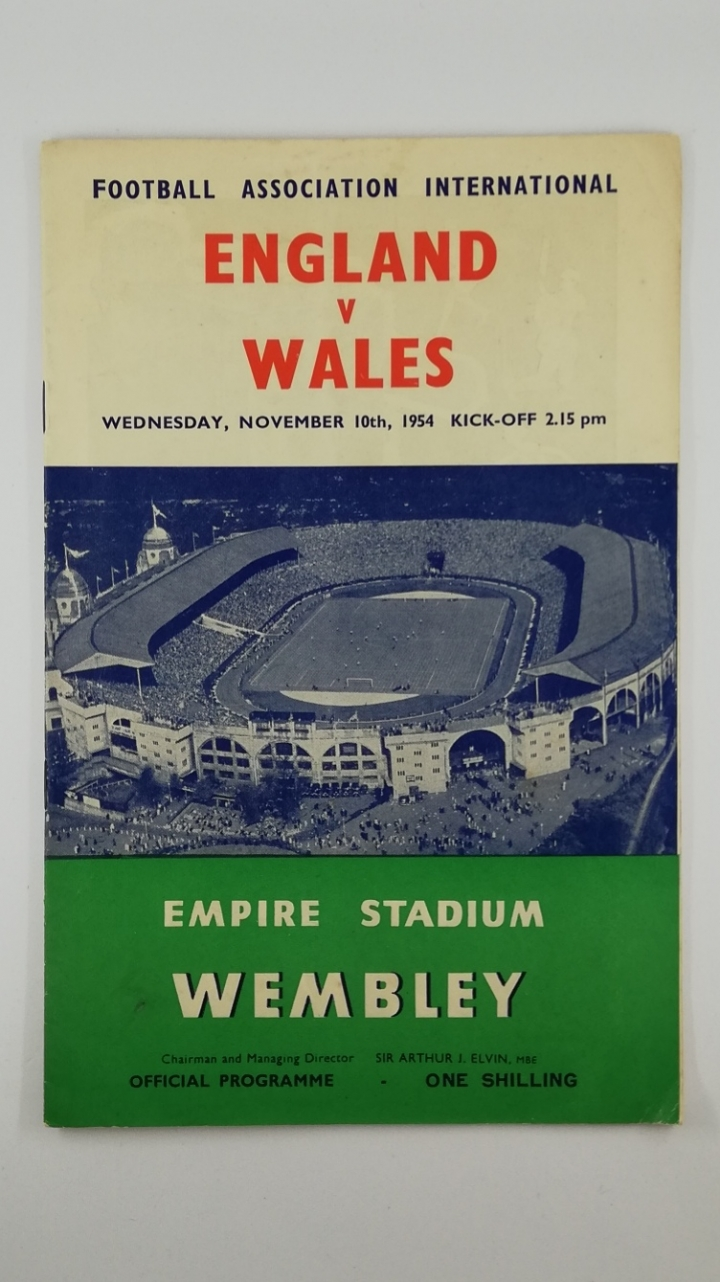 1954 England vs Wales football programme