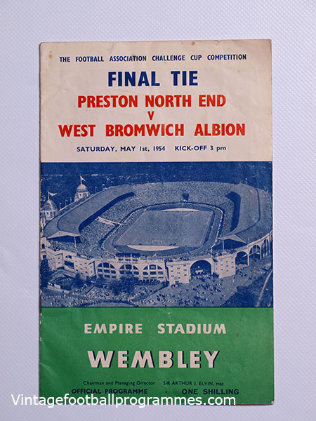 1954 F.A Cup Final 'Preston North End vs West Bromwich Albion' Programme football programme