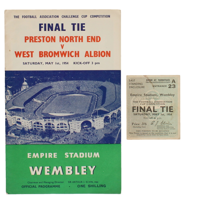 1954 F.A Cup Final Preston North End vs West Bromwich Albion programme and ticket