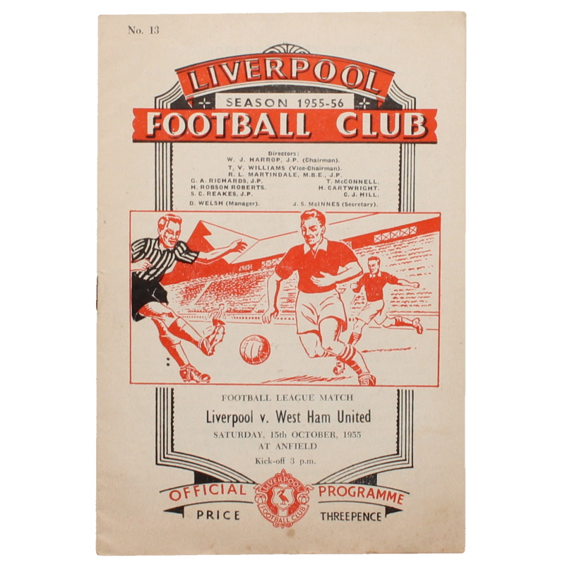 1955-56 Liverpool vs West Ham United programme football programme
