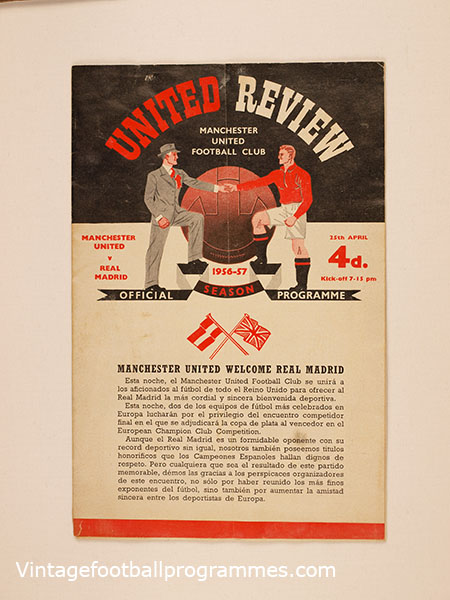 1956-57 European Cup Semi Final 2nd Leg 'Manchester United vs Real Madrid' football programme