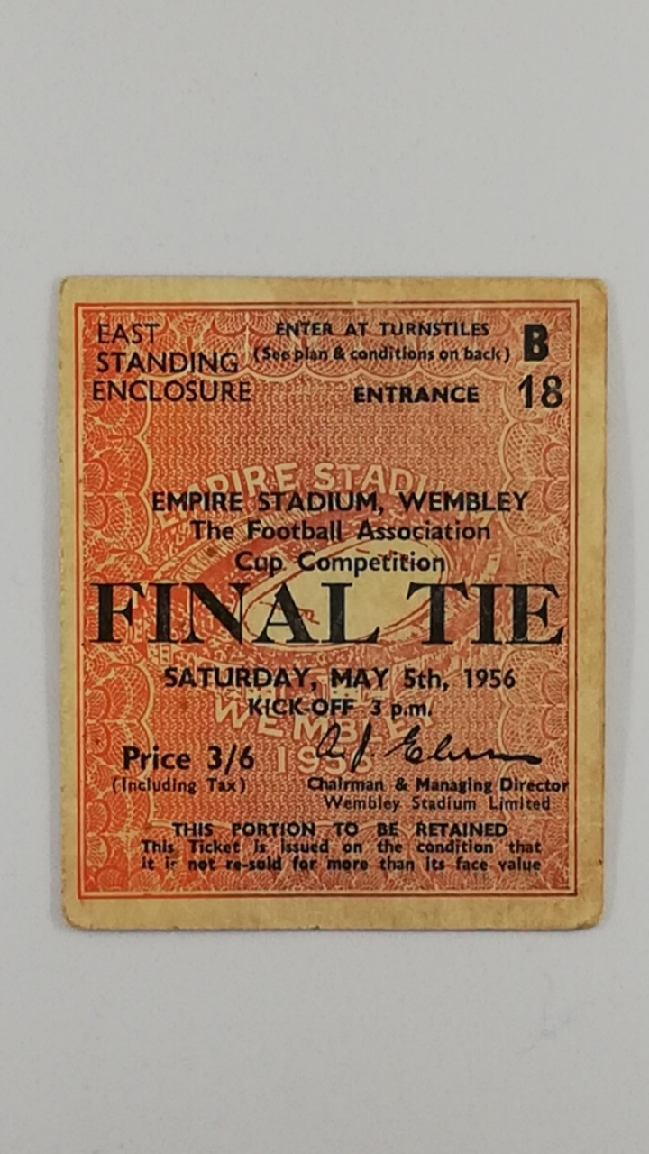 1956 F.A Cup Final Manchester City vs Birmingham City Ticket football programme