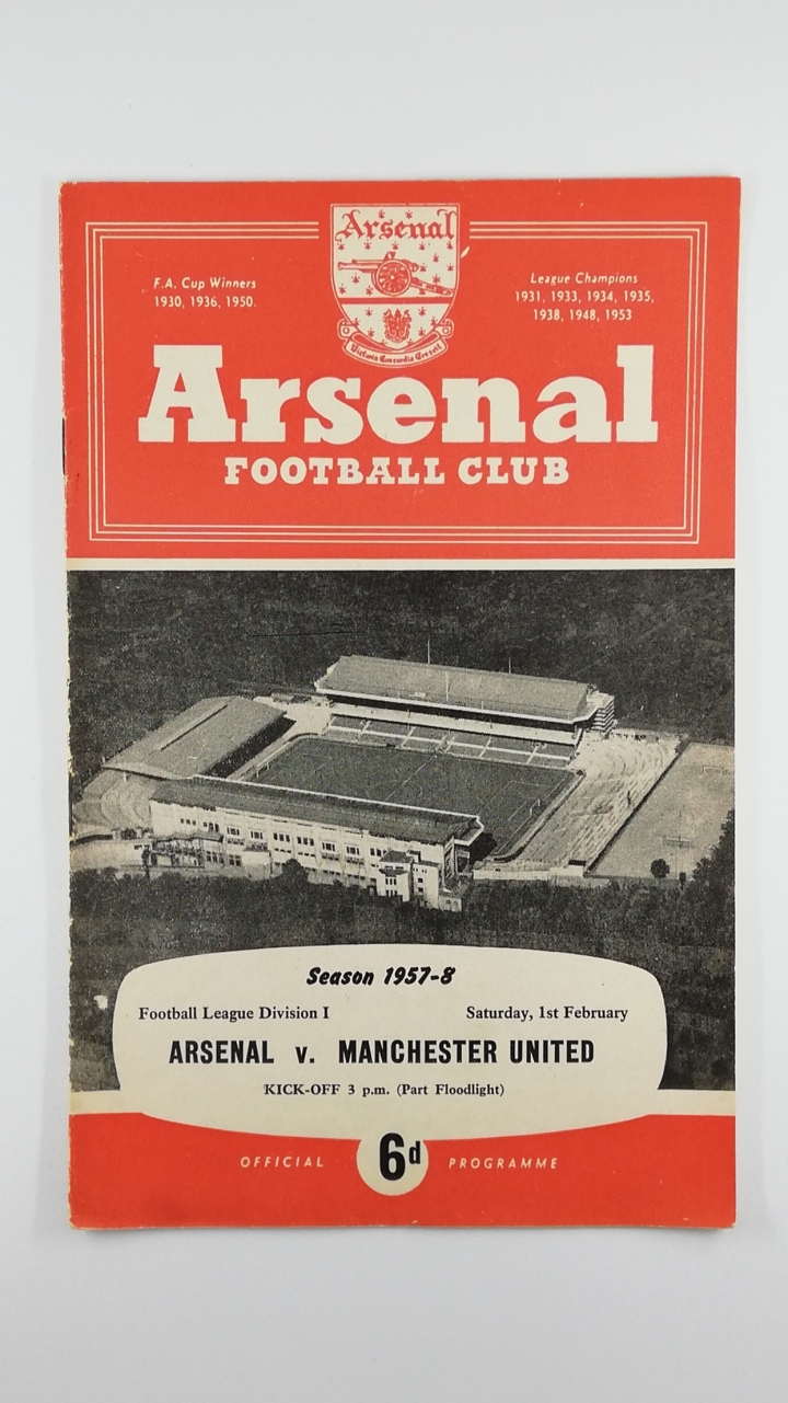 1957-58 Arsenal vs Manchester United last UK game before Munich air disaster football programme