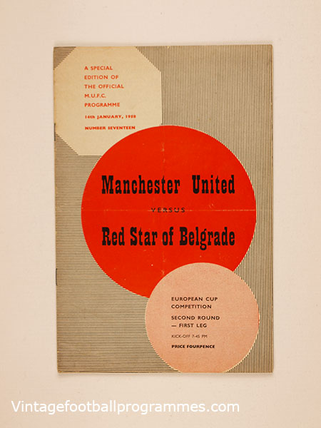 1957-58 European Cup 'Manchester United vs Red Star Belgrade' football programme