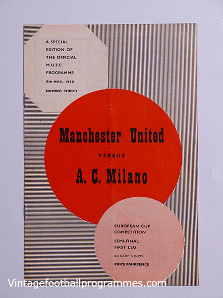 1957-58 European Cup Semi Final 1st Leg 'Manchester United vs A.C Milan' Munich Air Disaster Season football programme