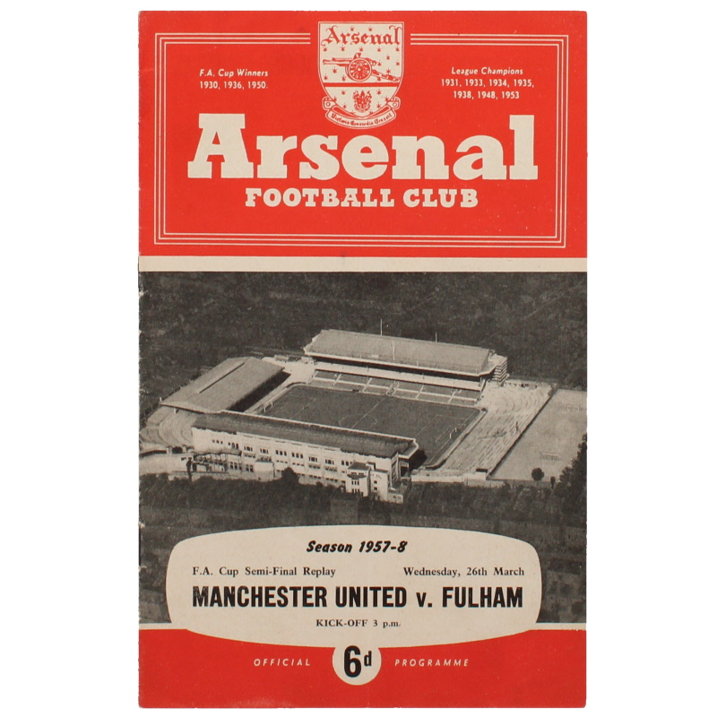 1957-58 FA Cup Semi Final Replay Manchester United vs Fulham 'Munich Air Disaster Season' football programme