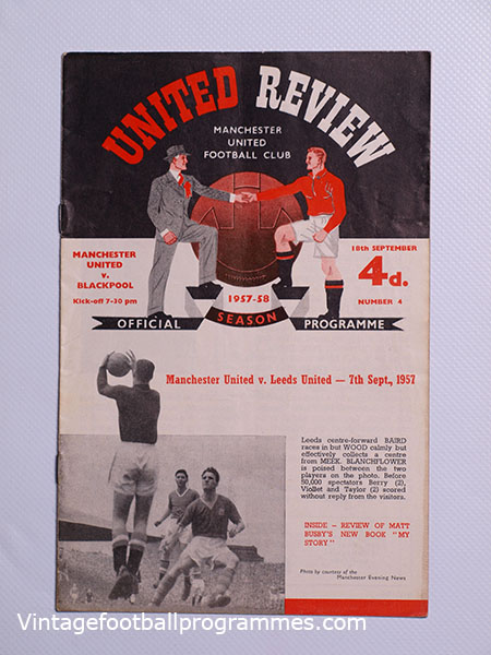 1957-58 'Manchester United vs Blackpool' Programme Munich Air Disaster Season