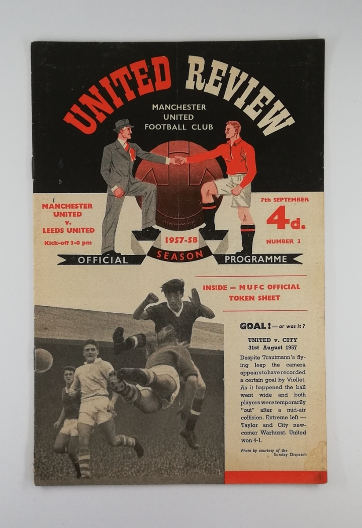 1957-58 Manchester United vs Leeds United Programme with token sheet