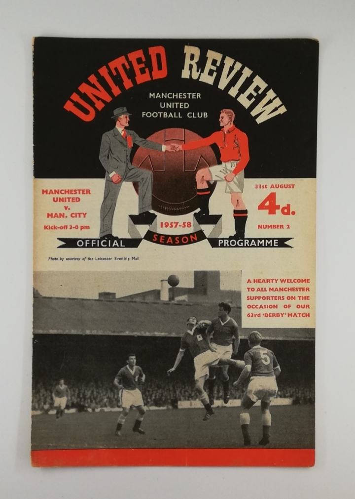 1957-58 Manchester United vs Manchester City Programme