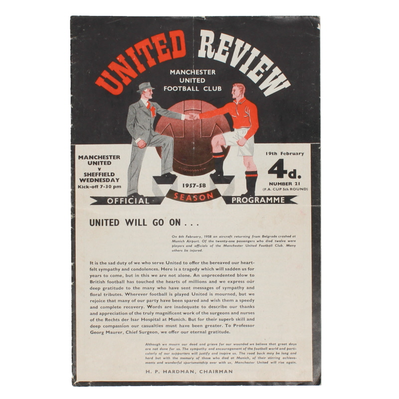 1957-58 Manchester United vs Sheffield Wednesday programme, first game after Munich disaster *Token in tact* football programme