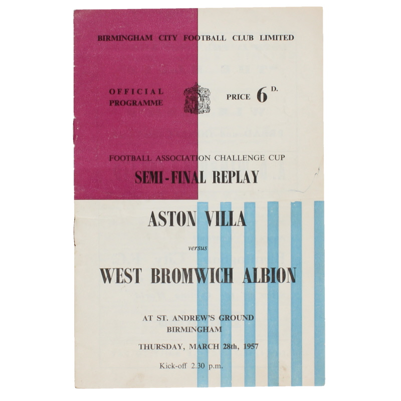 1957 F.A Cup Semi Final Replay Aston Villa vs West Bromwich Albion programme