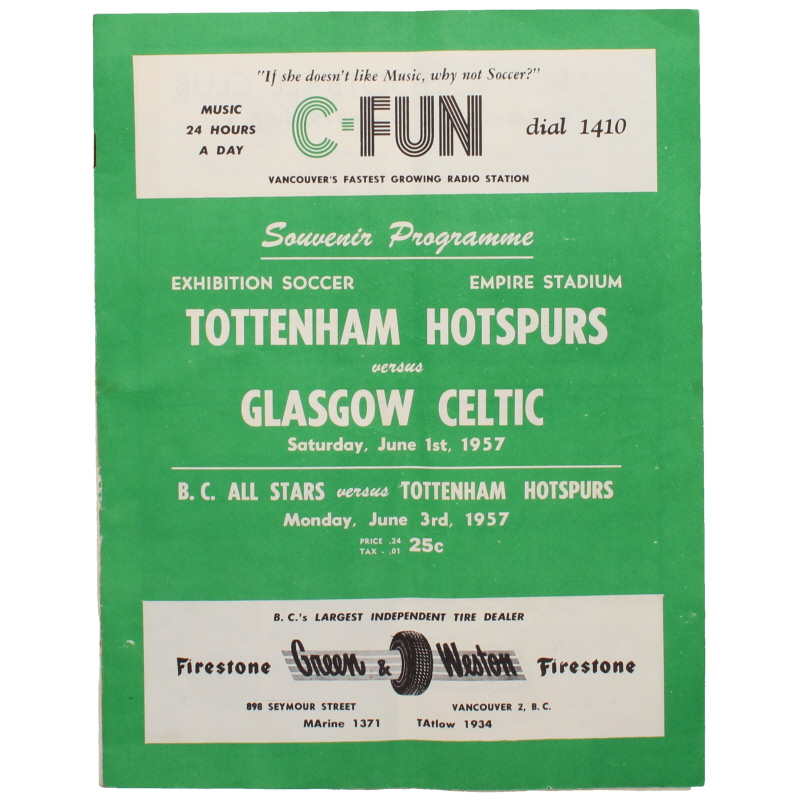 1957 Tottenham Hotspur vs Celtic programme, played at Empire Stadium, Vancouver