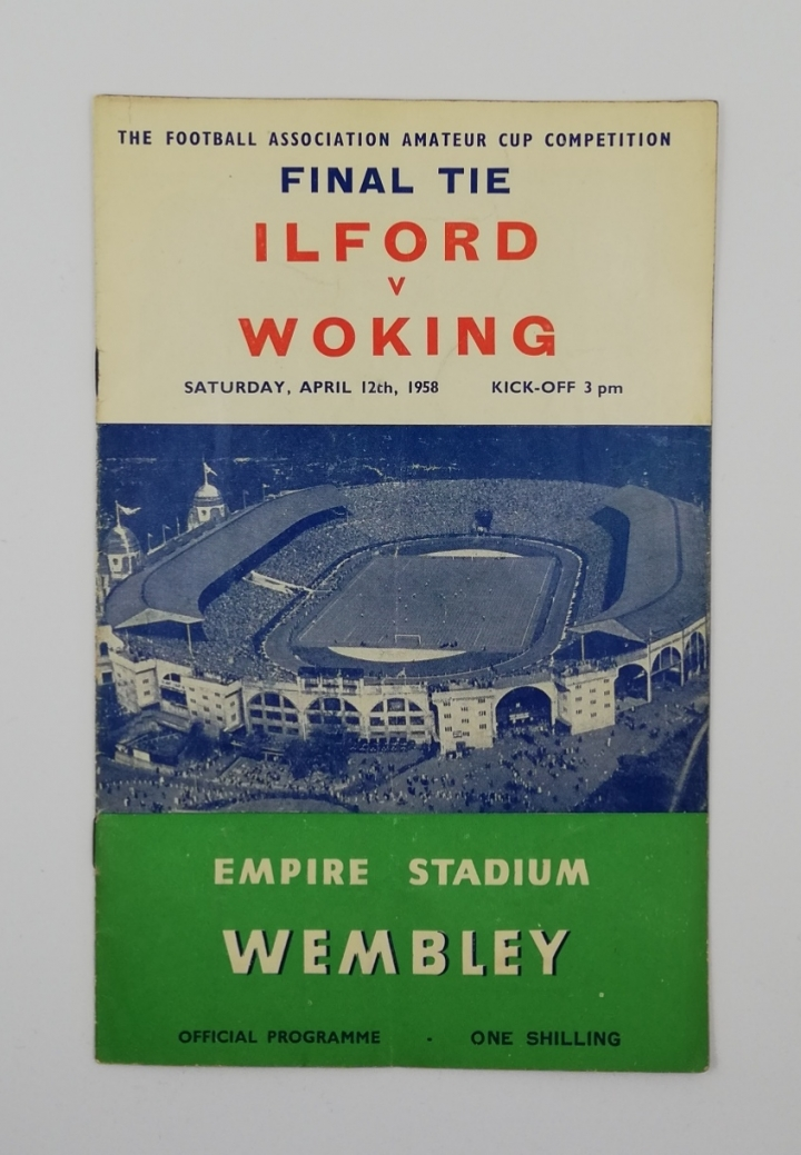 1958 Amateur Cup Final Ilford vs Woking programme football programme