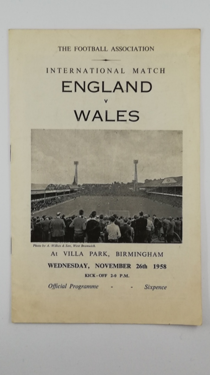 1958 England vs Wales at Villa Park football programme