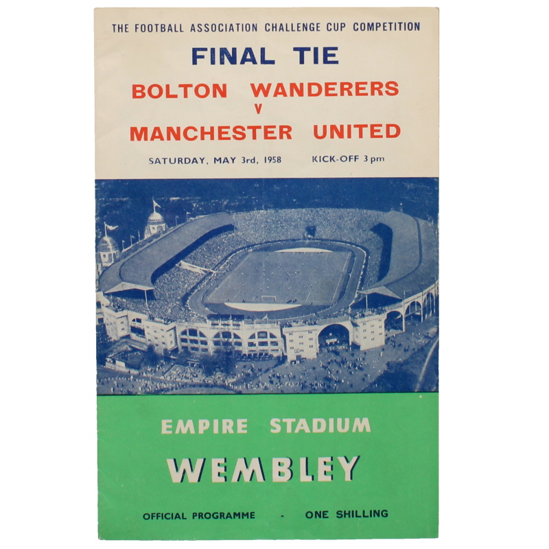 1958 F.A Cup Final 'Bolton Wanderers vs Manchester United' Programme
