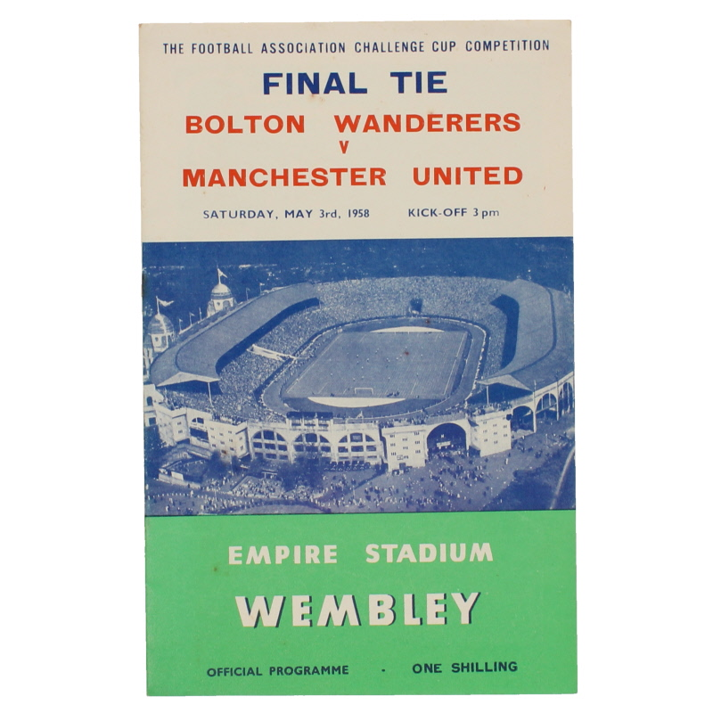 1958 F.A Cup Final Bolton Wanderers vs Manchester United programme