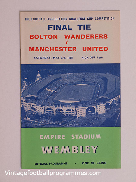 1958 F.A Cup Final Programme, Bolton Wanderers vs Manchester United football programme