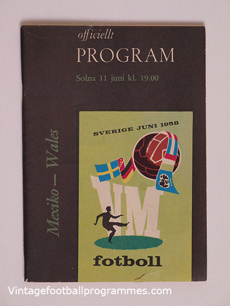 1958 World Cup 'Mexico vs Wales' Programme football programme