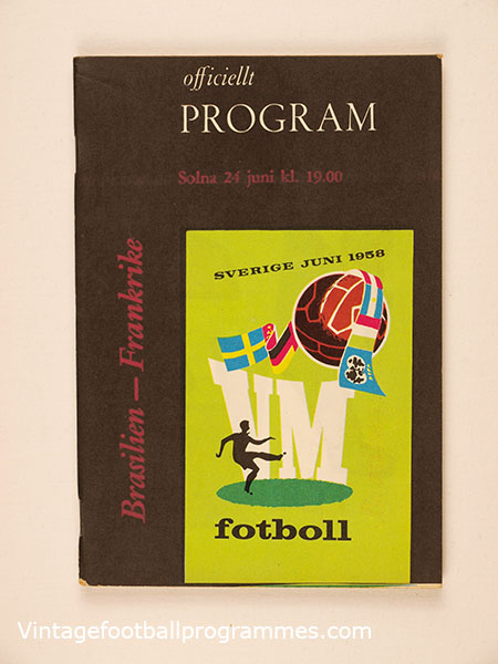 1958 World Cup Semi Final 'Brazil vs France' Programme