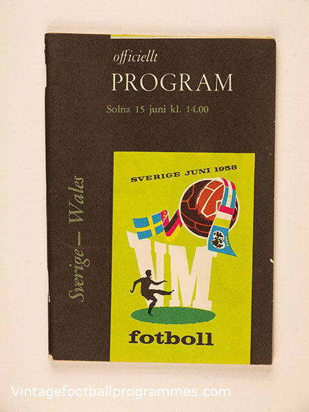 1958 World Cup 'Sweden vs Wales' Programme