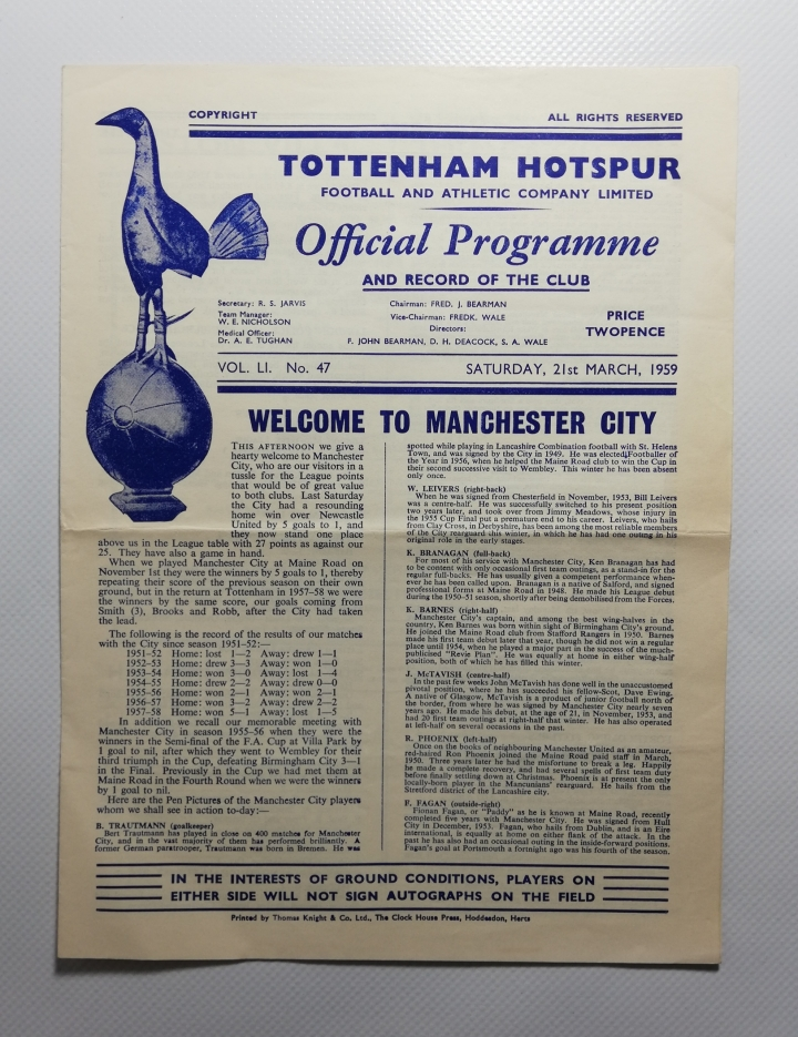 1959-60 Tottenham hotspur vs Manchester City football programme
