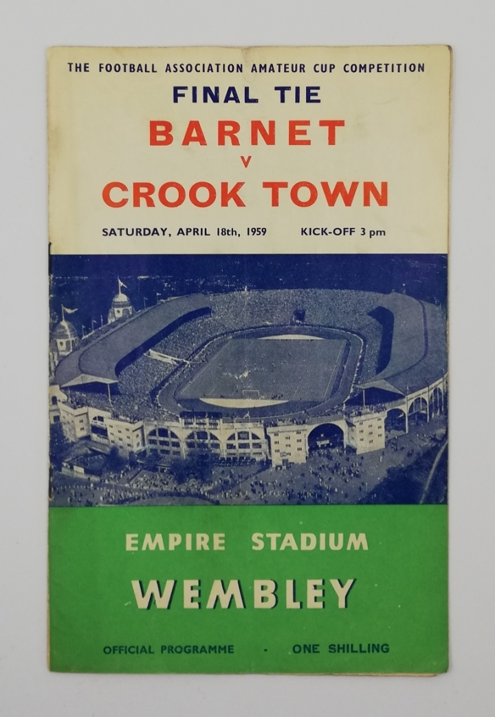 1959 Amateur Cup Final Barnet vs Crook Town programme