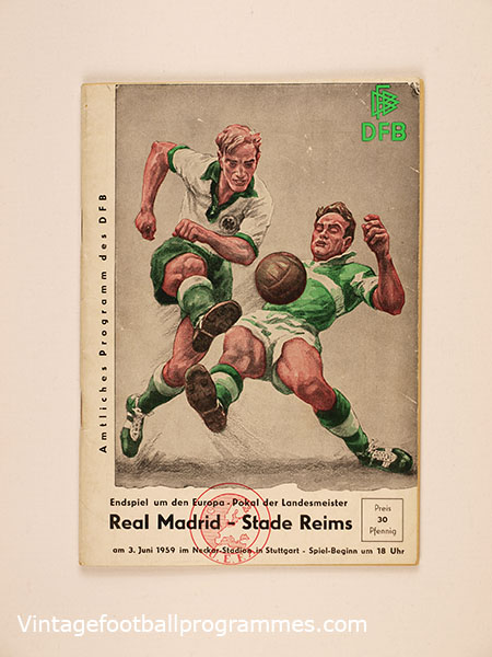 1959 European Cup Final 'Real Madrid vs Stade Reims' Programme