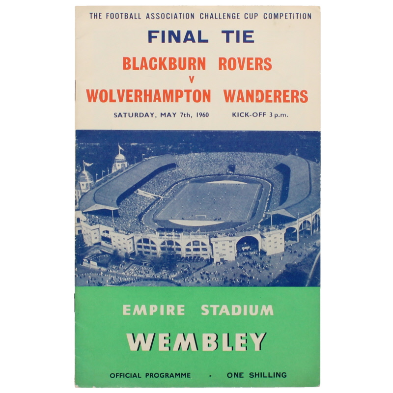 1960 F.A Cup Final Blackburn Rovers vs Wolverhampton Wanderers football programme
