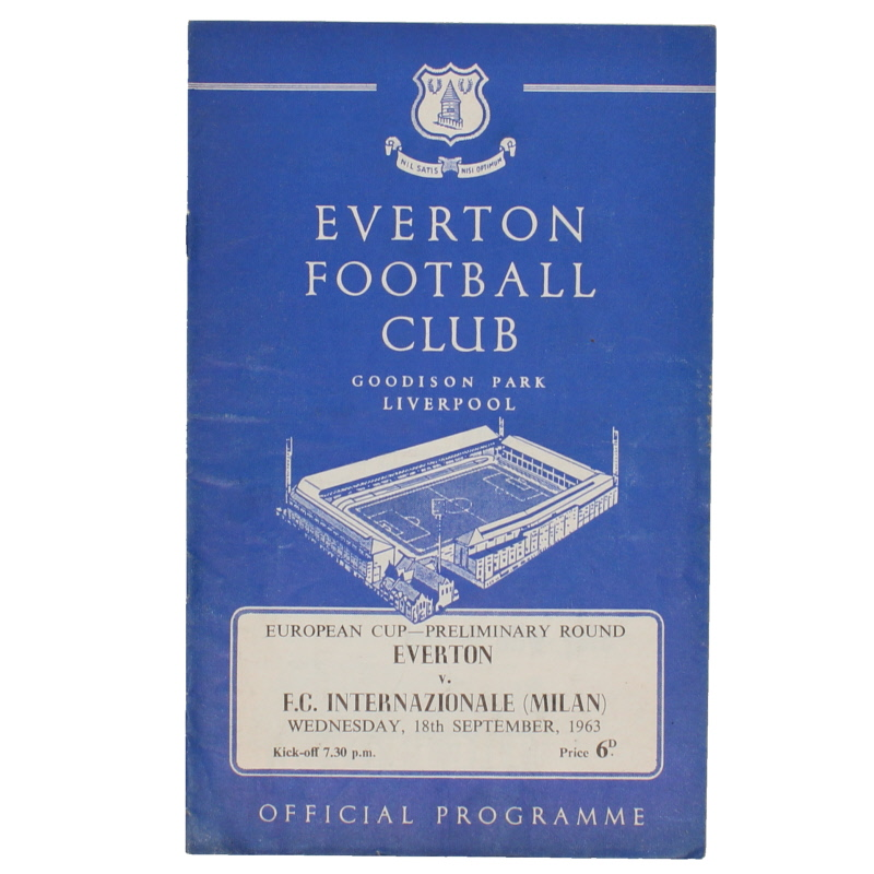 1963-64 Everton vs Inter Milan European Cup preliminary round programme football programme