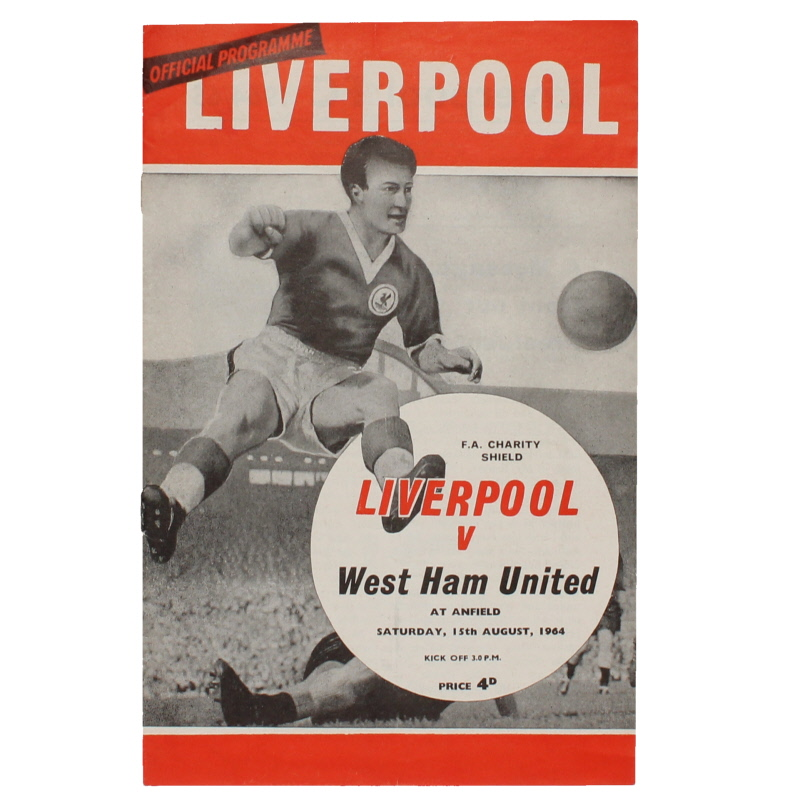 1964 Charity Shield Liverpool vs West Ham United programme