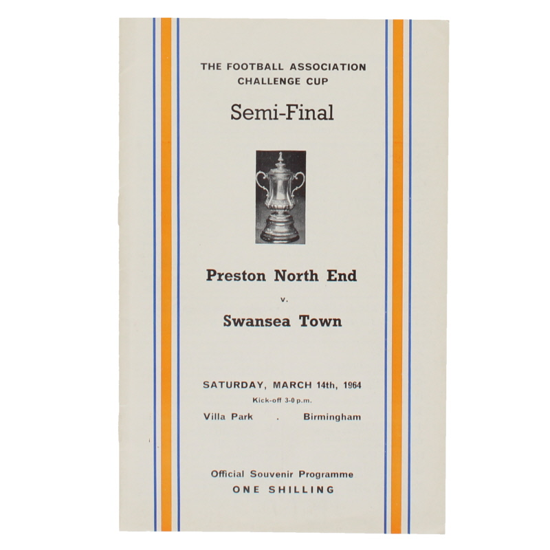 1964 F.A Cup Semi Final Preston North End vs Swansea Town programme