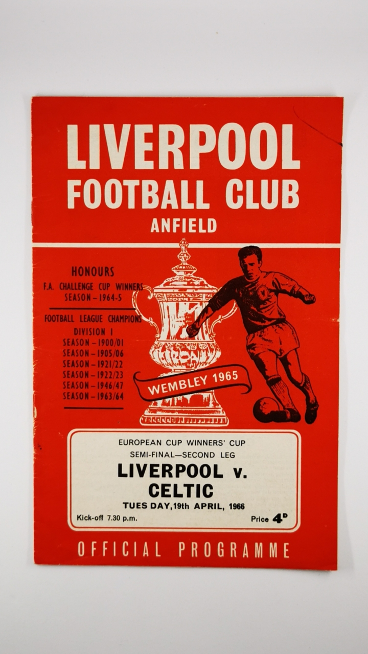 1966 European Cup Winners Cup Semi Final 2nd Leg Liverpool vs Celtic programme