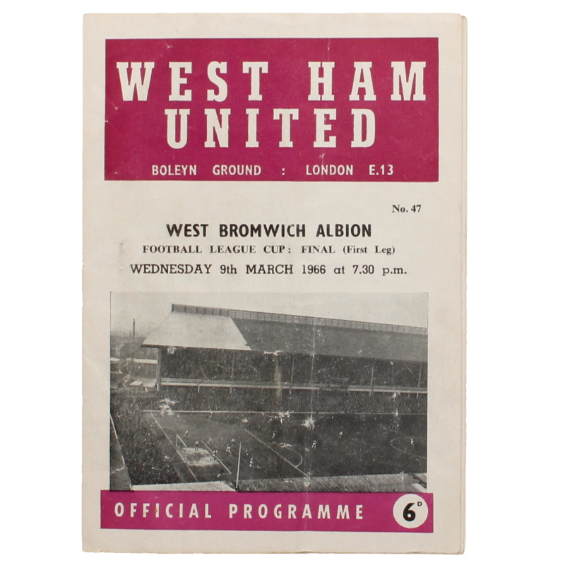 1966 League Cup Final First Leg West Ham United vs West Bromwich Albion programme football programme
