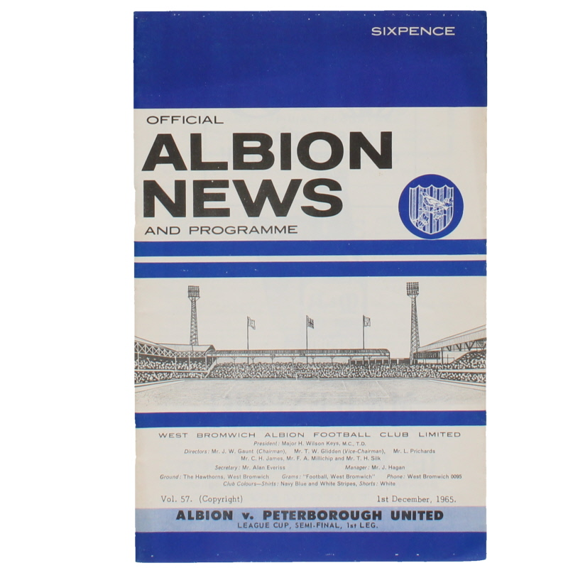 1966 League Cup Semi Final 1st Leg West Bromwich Albion vs Peterborough United programme