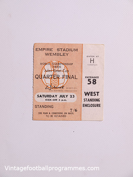 1966 World Cup England vs Argentina Quarter Final Ticket football programme