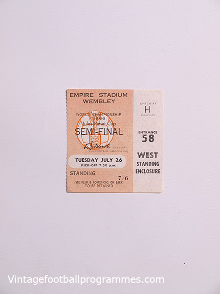 1966 World Cup England vs Portugal Semi Final Ticket