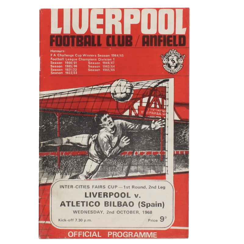 1968-69 Liverpool vs Atletico Bilbao programme Fairs Cup programme