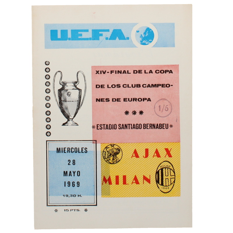 1969 European Cup Final Ajax vs A.C Milan Programme