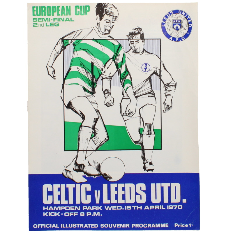 1970 European Cup Semi Final 2nd leg Celtic vs Leeds United programme